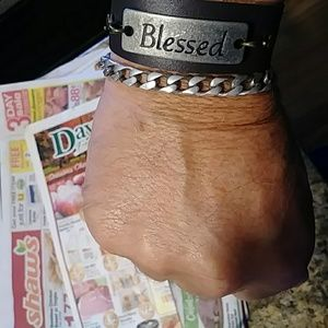 Jewelry - Leather Bracelet with Blessed 8 1/2 inches